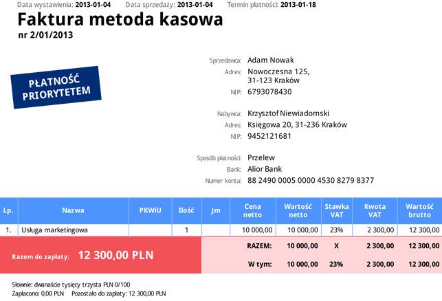 """Przykładowa faktura """"metoda kasowa"""" wygenerowana w inFakt.pl"""
