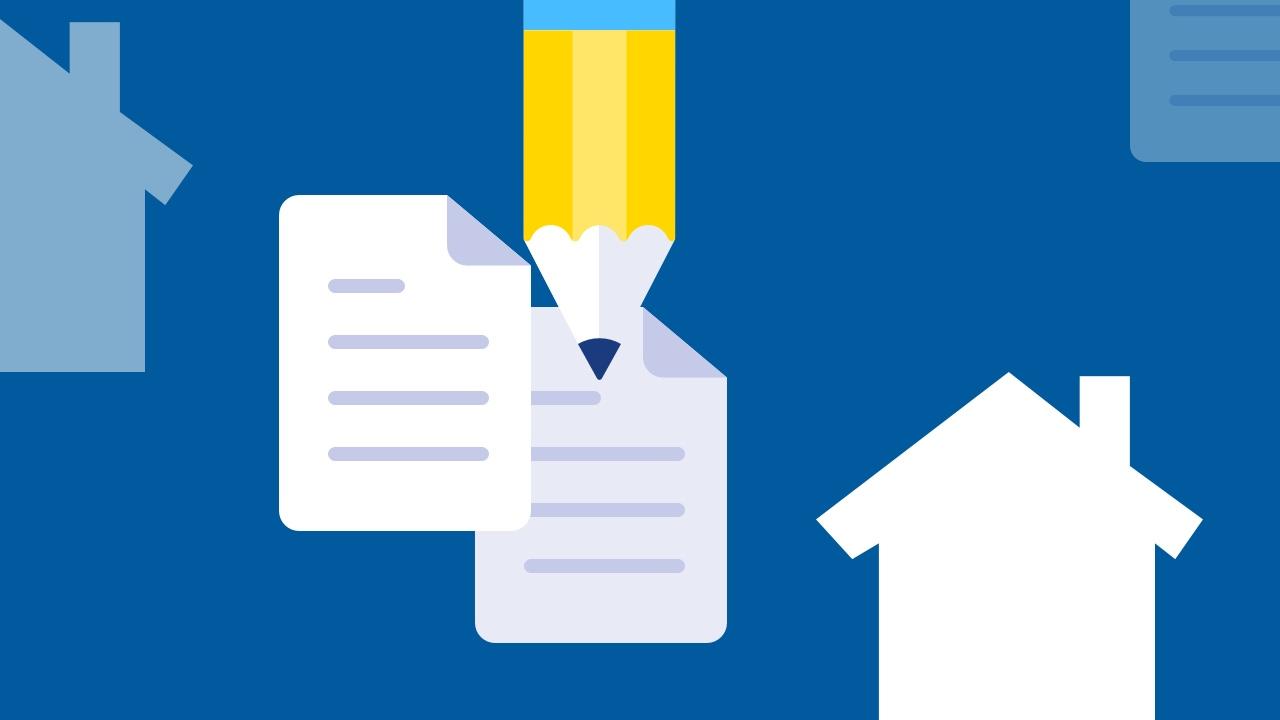 Dwa dokumenty, ołówek i dom