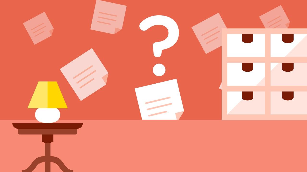Dokumenty, szafka i znak zapytania