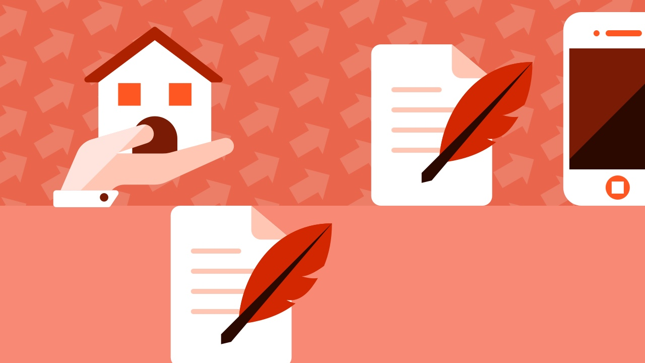Dom, komórka, dokumenty i pióra piszące
