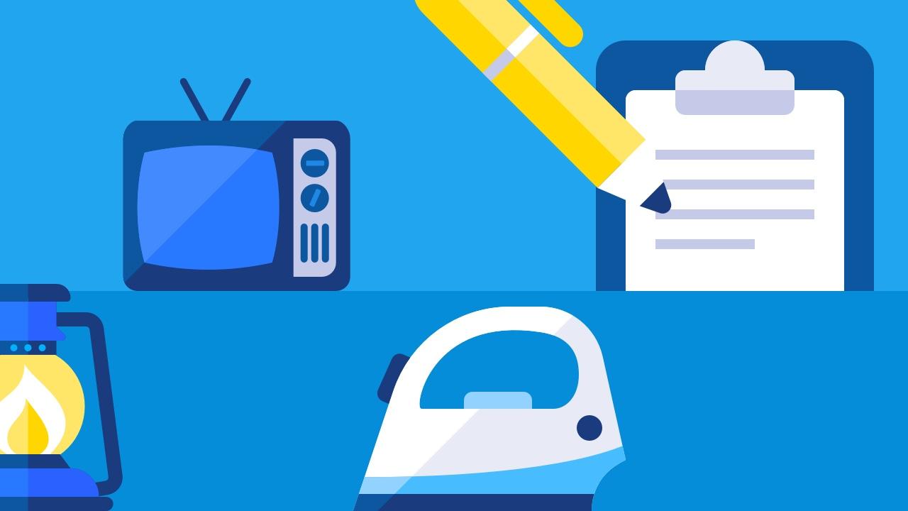 Telewizor, żelazko, checklista