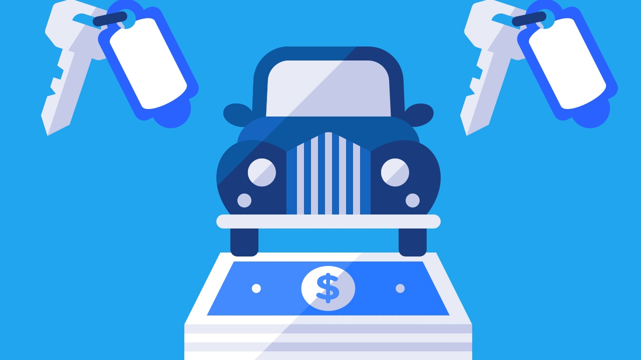Samochód na pliku banknotów