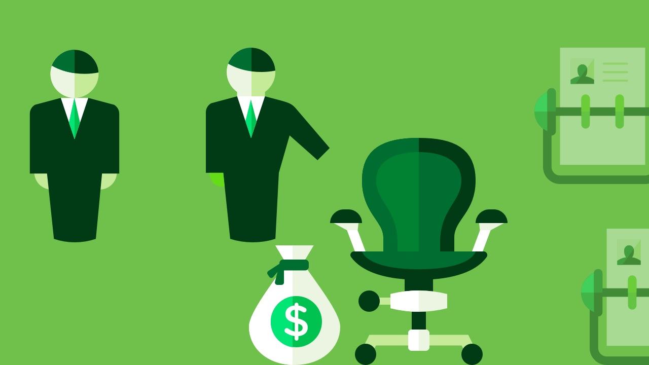 Dwóch mężczyzn, worek pieniędzy i fotel