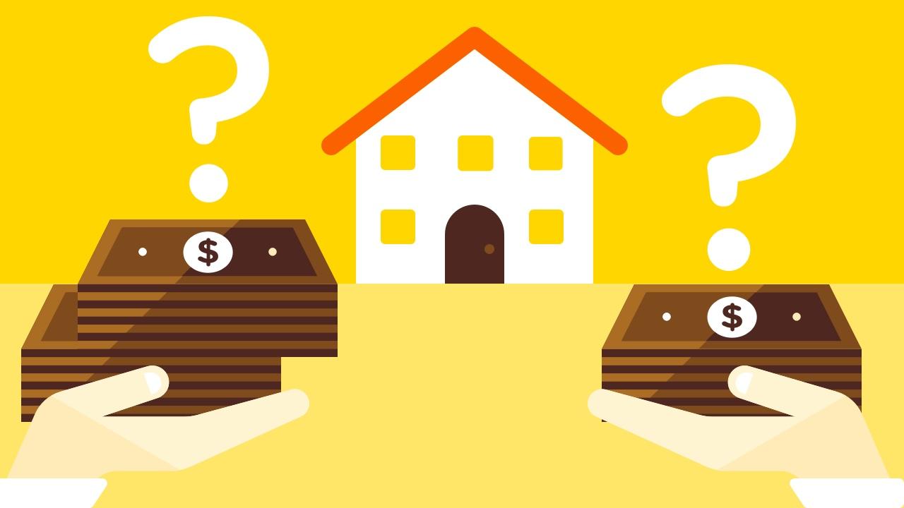 Pliki pieniędzy, znaki zapytania oraz dom