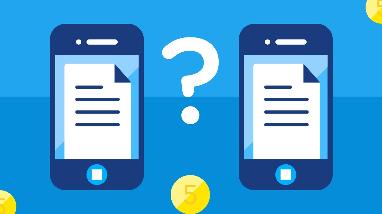 Dwa telefony i znak zapytania