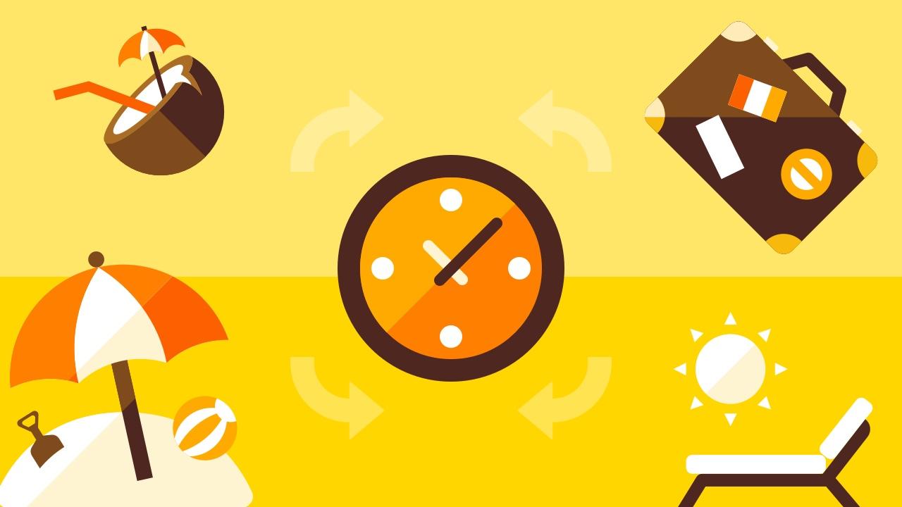 Zegar i symbole letniego urlopu