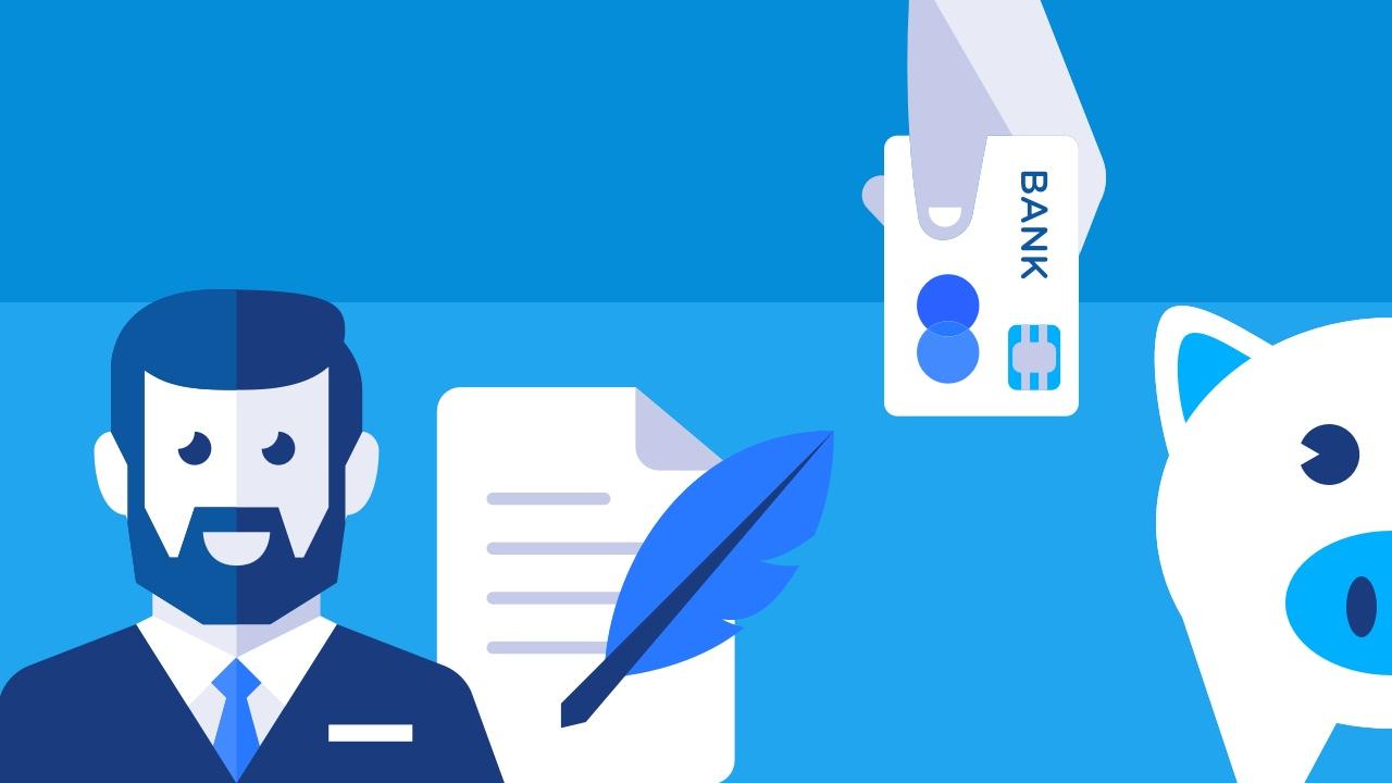 Mężczyzna z brodą, kontrakt i karta kredytowa