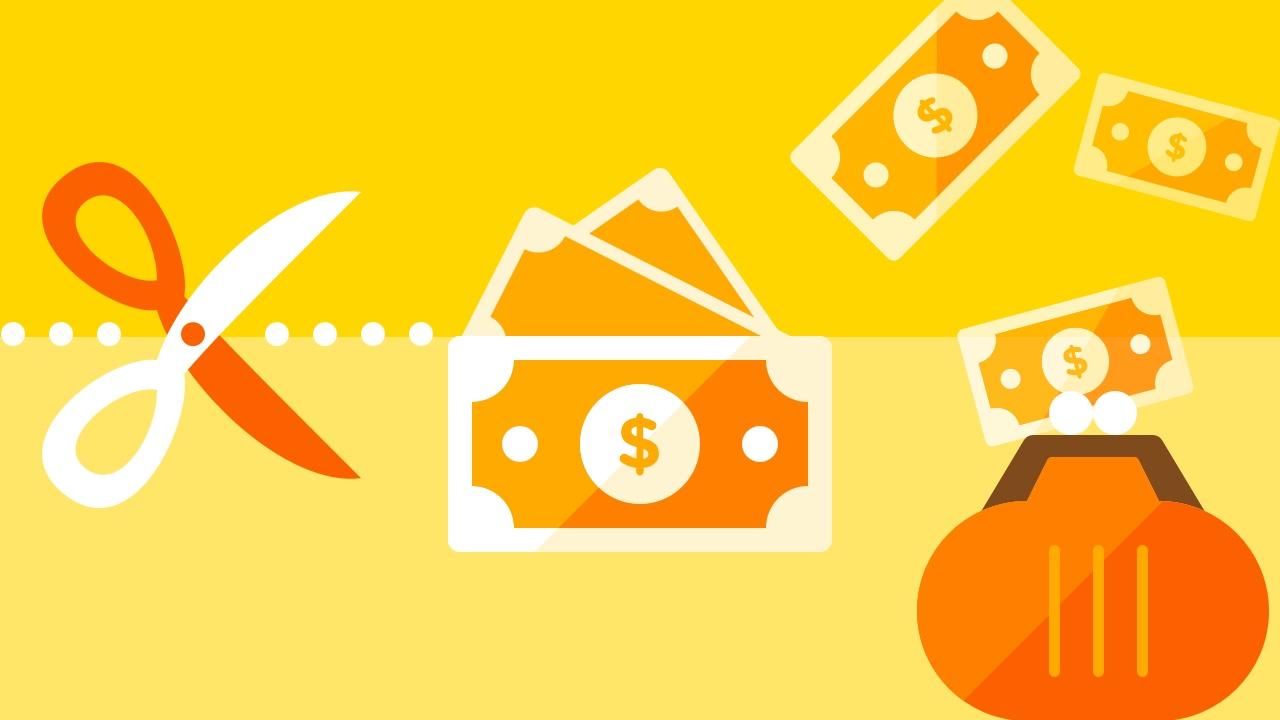 Nożyczki, banknoty i portmonetka