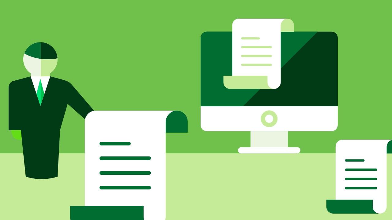 Urzędnik i trzy dokumenty oraz komputer